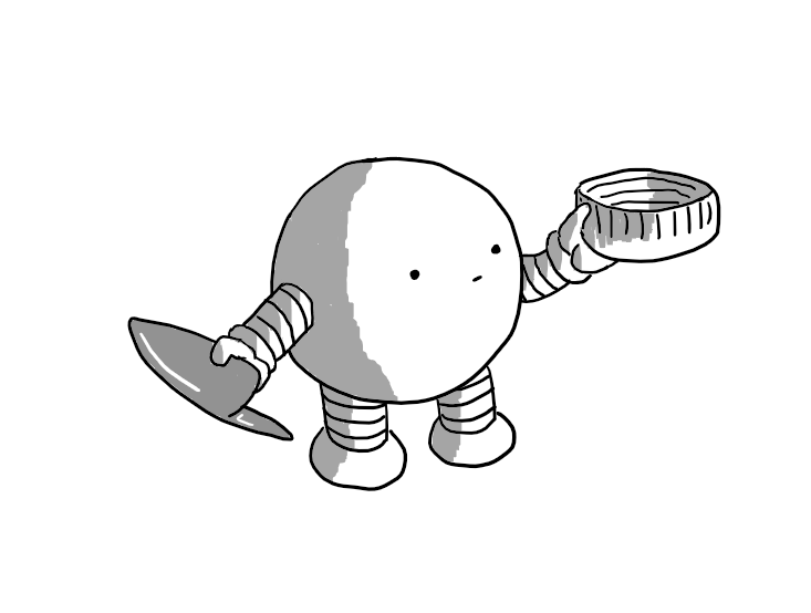 A spherical robot with banded arms and legs holding a biro lid in one hand and a screw bottle cap in the other, that it's looking at blankly.