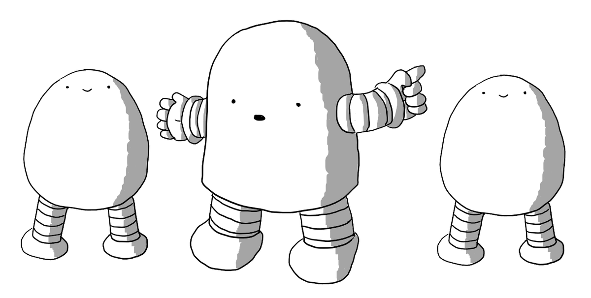 A chunky, round-topped robot with banded arms and legs, gesturing to two identical smiling robots standing either side of it. They are Bigbot and Tinybot, but they look exactly the same size (they're literally the same image repeated).