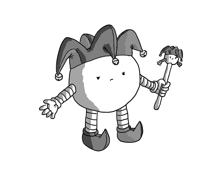 A spherical robot with banded arms and legs, wearing a horned jester hat with bells on and curly shoes. It's carrying a marotte bearing its own likeness, complete with hat and the same angry expression on its face.