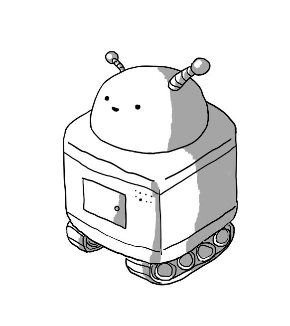 A robot consisting of a rounded cuboid body on a set of two caterpillar tracks with a separate hemispherical head section on top that has a happy little face on it. The robot has two banded antenna, one noticeably thicker than the other.