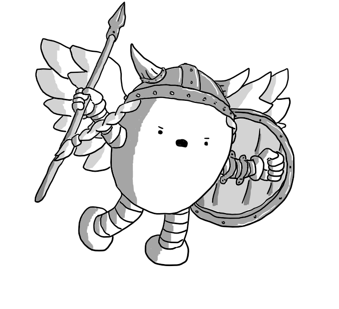 An ovoid robot with banded arms and legs dressed as a Norse Valkyrie, with a horned helmet and braids, a spear in one hand and a shield in the other and a pair of large feathered wings.