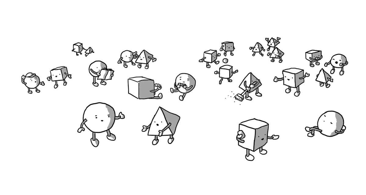 A number of robots, some spherical, some cubic, some pyramidal, performing various activities. Two are having a conversation, one is on a phone, one is having a nap, two are playing cards, one is sweeping, one is singing to an audience of two others, a small group are playing football, one is reading, one is helping another up off the ground, one is trying on a hat to the approval of another.