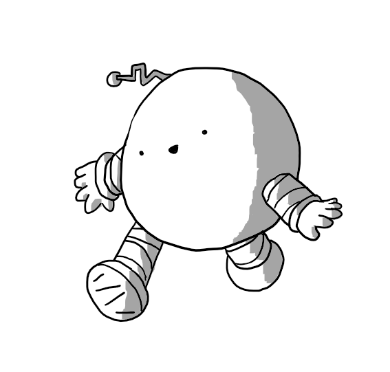 A spherical robot with banded arms and legs, except the bands don't run parallel up its limbs and they're all different lengths. The treads on its feet are also angled. Its cheerful face is set at a slant and it has a crooked antenna protruding at an odd angle.