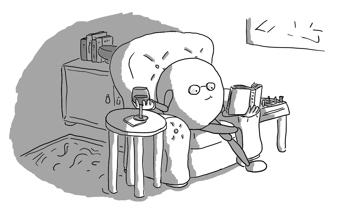 A round robot with jointed arms and legs, wearing glasses and sitting in a leather armchair. It's holding a glass of wine in one hand and reading from a book held in the other. The room is filled with fancy furniture, with a rug on the floor and modern art on the wall. A chess set is next to it.