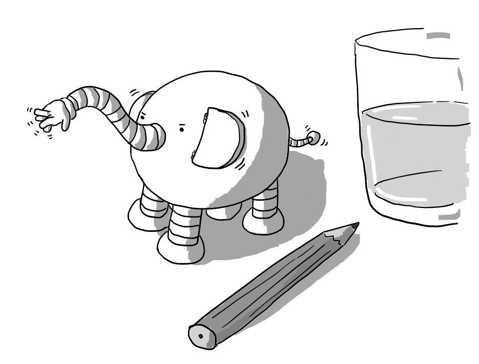 An ovoid robot with four banded legs and a long, wiggly arm below its eyes like an elephant's trunk. It has two large, hinged ears and a tail like an antenna with a small sphere on the end. It's standing beside a pencil and a glass of water, both about the same size as it.