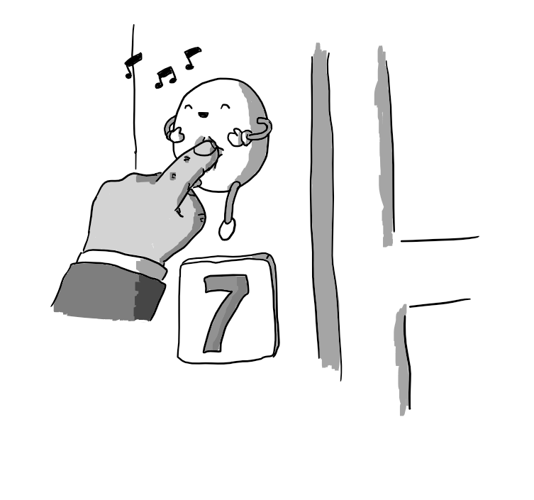A round robot with flexible arms and legs suspended on an exterior doorframe, just above a sign with the number 7 on it. A hand is reaching up to press the robot in the middle of its belly, causing it to giggle happily and emit a few musical notes.