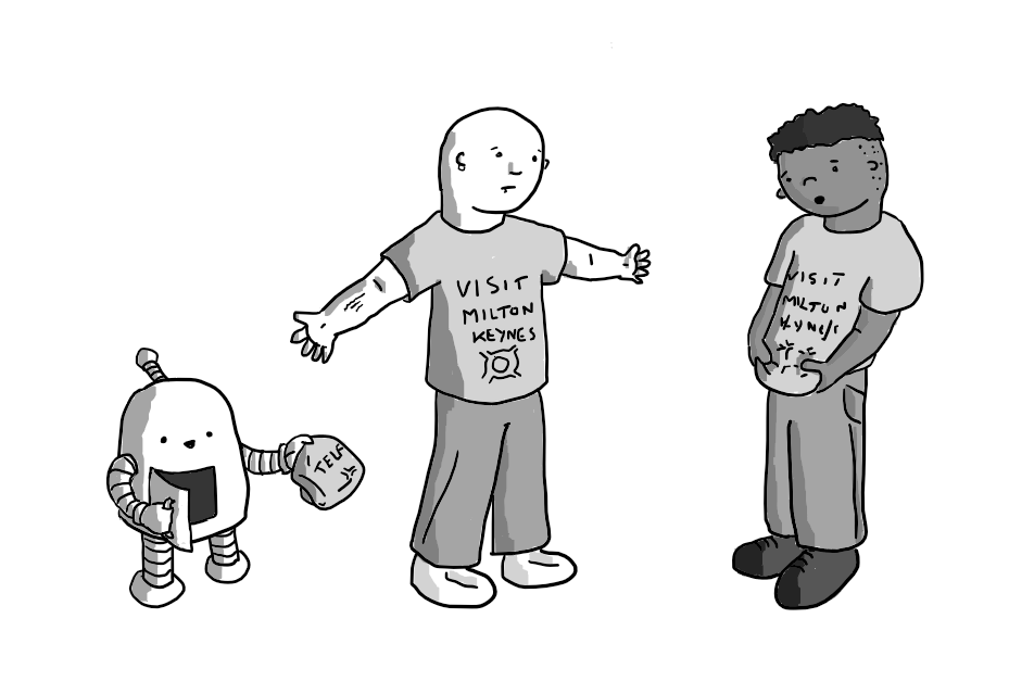 Two people wearing the same 'VISIT MILTON KEYNES' t-shirt, looking down in horror at themselves. A round-topped robot with banded arms and legs is standing next to one, opening a hatch on its front and holding out another folded t-shirt on which the letters 'TELF' are visible.