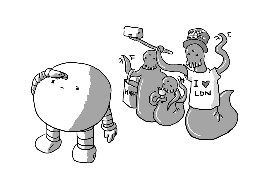 "A spherical robot with banded arms and legs squinting upwards and shielding its eyes with its hand. Behind it, three amorphous creatures with tentacles for arms, slug- like lower bodies, three eyes and dangling feelers for mouths. They seem to be a family unit: the 'father' has a Union Jack hat on and a t-shirt reading ""I [heart] LDN"", the 'child' is eating an ice cream and the 'mother' has a Harrods bag."