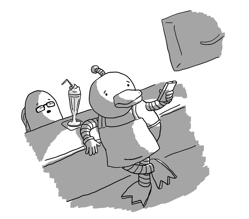 A robot shaped like an anthropomorphic duck wearing an apron leans on the inside of a bar, using a remote control to turn on a wall-mounted TV. A tall milkshake is on the bar in front of a horrified-looking Thommybot.