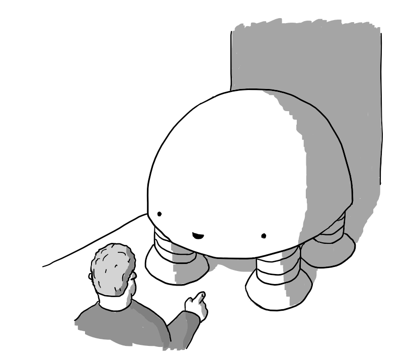 A smiling, dome-shaped robot with four thick, banded legs standing blocking a narrow corridor while a person gestures to ask it to move. It doesn't look like it'll work.
