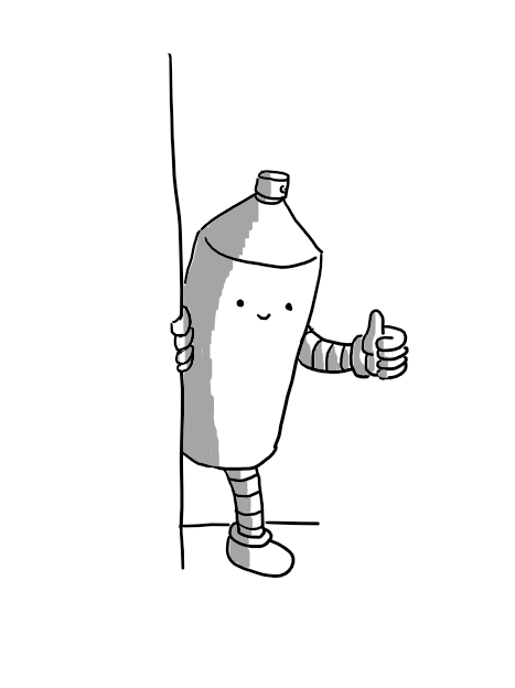 A robot in the form of a slightly dated-looking aerosol can with the cap off. It has banded arms and legs and is peeking out from behind a wall and giving an encouraging thumbs-up.