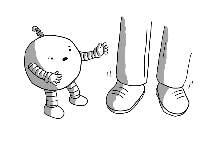 A spherical robot with banded arms and legs and a spiral antenna holding out its hands to a person's legs that are wobbling unsteadily. It has an expression of alarm on its face.