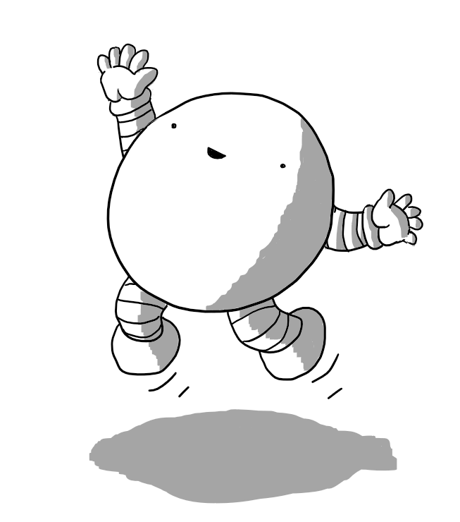 A happy, spherical robot with short, banded arms and legs, jumping up into the air with one hand held aloft.