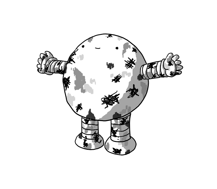 A smiling, round robot with banded arms and legs, looking up and holding out its arms as if expecting a hug. It is covered in smears and stains of various shades.