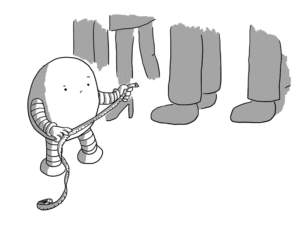 An ovoid robot with banded arms and legs holding up a tape measure and looking at it doubtfully. In the background, several people's legs are visible forming a queue.
