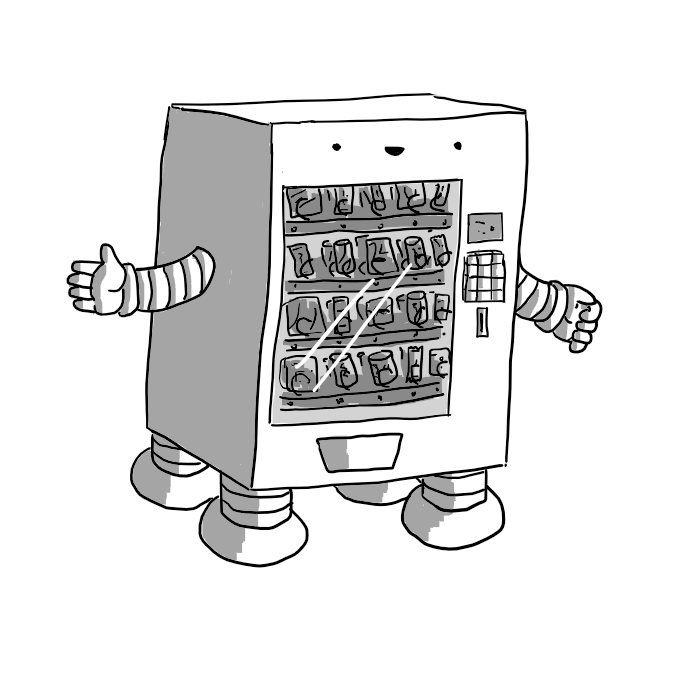 A robot in the form of a vending machine with a glass front showing all its various snacks and drinks. It has four legs on the bottom and arms on either side. Its smiling face is at the top.