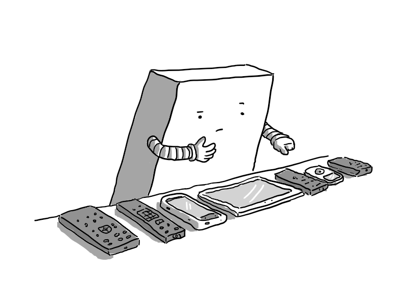 A slim, cuboid robot with banded arms standing at a table and looking doubtfully at a row of remote controls and devices, including a phone, a tablet and an iPod. The robot is stroking the place its chin would be and counting with its other hand.