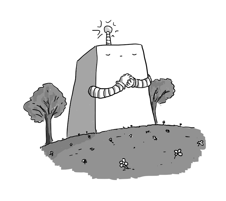 A large robot shaped like a tapered cuboid, with two banded arms and an antenna on its top. Its eyes are closed reverently and its hands clasped before it. A glowing sphere tops its antenna. It's set in a wide meadow dotted with wildflowers and flanked by deciduous trees.