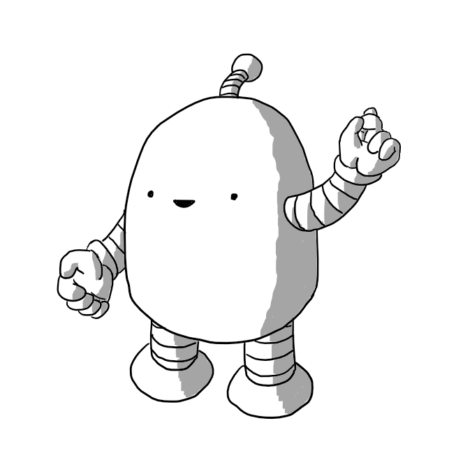 An elongated dome robot with banded arms and legs. A happy look is on its little face as it raises it's left hand and clicks its fingers