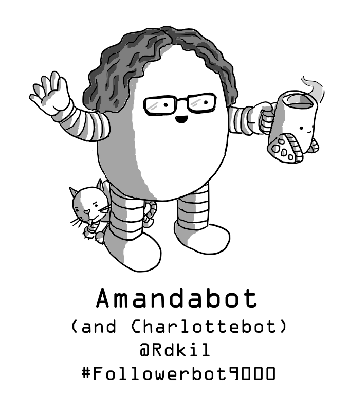 An ovoid robot with glasses and curly hair, holding up a full Teabot and waving. A small Cattobot is peeking out from behind her.