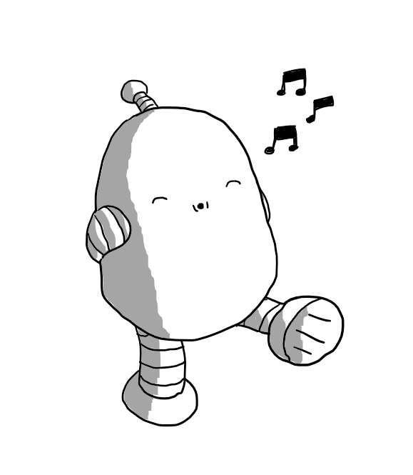 A round-topped robot with banded arms and legs and an antenna, walking along with its hands folded behind its back, whistling contentedly with its eyes closed.