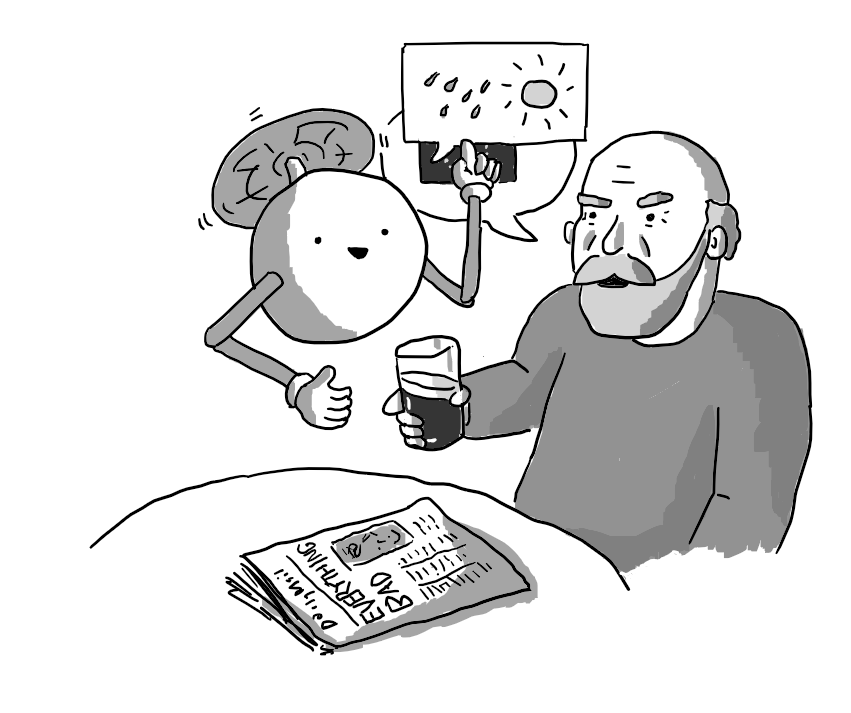 "A spherical robot held aloft by a propeller on its top, with two jointed arms. It's hovering at a table beside a bearded man drinking a pint of beer. A copy of the Daily Mail with the headline ""EVERYTHING BAD"" is on the table. A speech bubble coming from the man has the EU flag in it, but another speech bubble coming from the robot that contains rain and a stylised sun is obscuring most of it."
