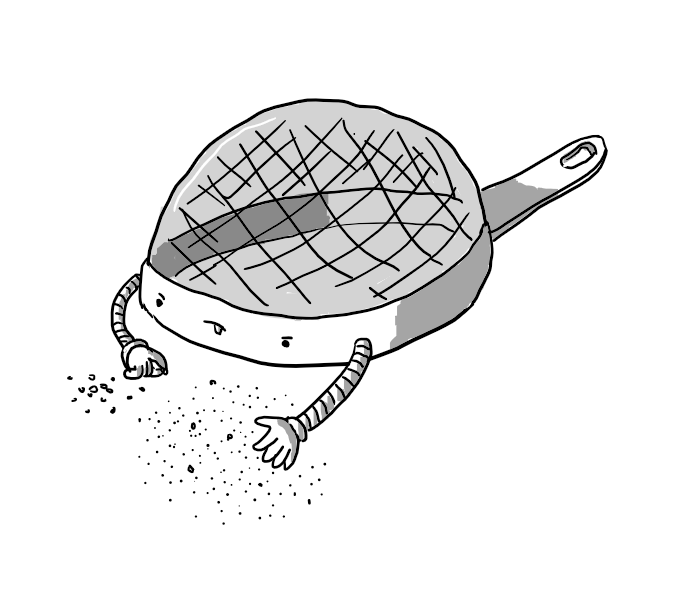 A robot in the form of an upturned sieve with its face on the outside rim. It has two slim banded arms and is sorting through a number of grains using its hands, delicately placing the larger ones in a small, separate pile. Its expression is one of intense concentration with its tongue sticking out.