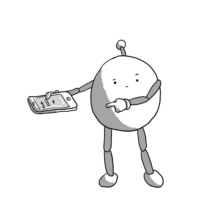 A round robot with jointed arms and legs, holding a mobile phone with a search bar displayed, pointing to the phone while cocking a sardonic eyebrow.