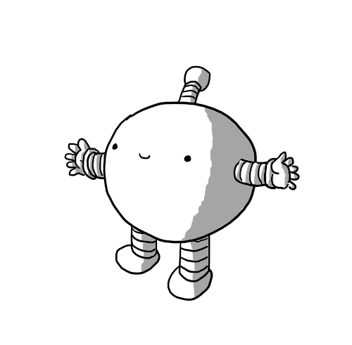 A spherical robot with banded arms and legs and an antenna. It's holding out its arms and smiling.