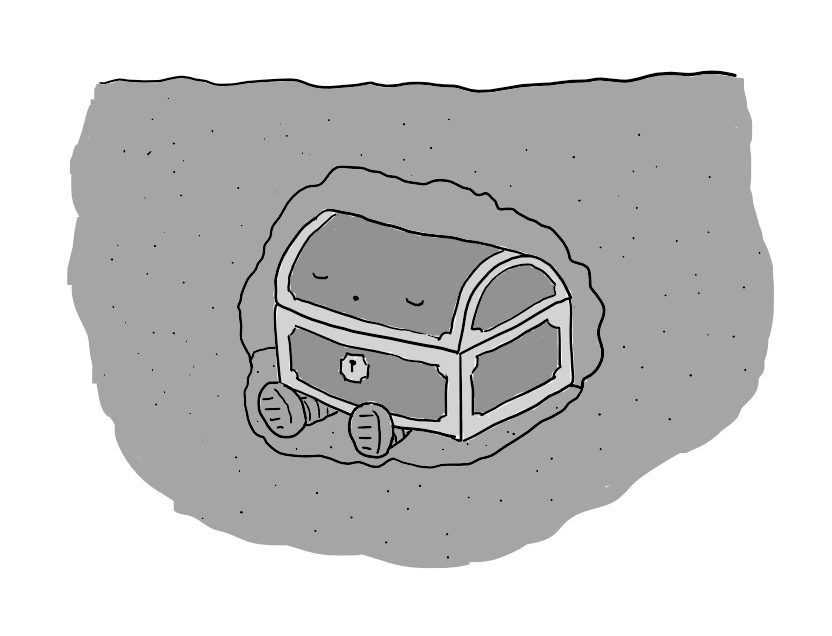 A robot in the form of a wooden chest with a semi-cylindrical lid and two little legs splayed out at the bottom. It's sitting in a small cavity underground, with its eyes closed peacefully, apparently snoring.