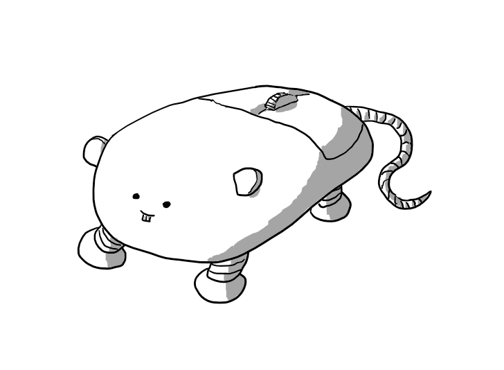 A robot in the form of a computer mouse, with its buttons and a scroll wheel to the rear. It has four banded legs on its underside, a tail at the back and a pair of small, rounded ears. It has close-set eyes and elongated front teeth.