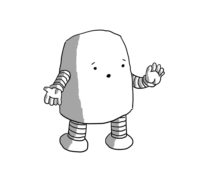 A rounded, rectangular robot with banded arms and legs, holding up one hand and gesturing with the other as if explaining something. Its facial expression looks concerned and apologetic.