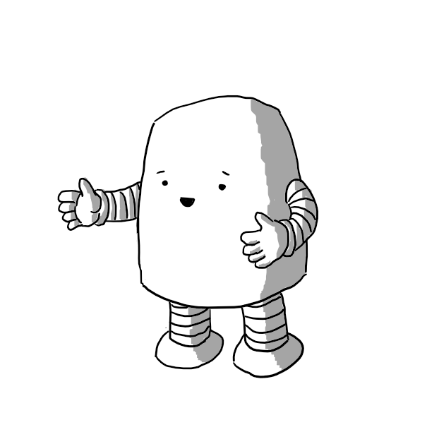 A rounded, rectangular robot with banded arms and legs. Its holding its hands apart as if to indicate the size of something and looks pretty pleased with itself.
