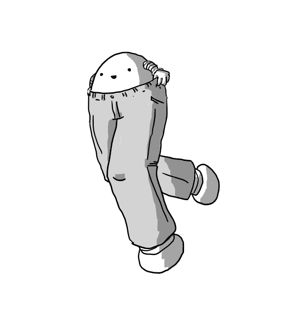 A happy round robot, poking out the top of a pair of jeans. Its banded legs seem to fill the jeans' legs with its feet protruding from the cuffs at the bottom.