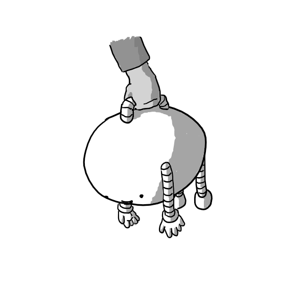 An ovoid robot with banded arms and legs and a handle on its back. It's being held by a person like a bag, with its limbs hanging straight down, but seems pretty happy about it.